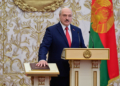 Alexander Lukashenko takes the oath of office as Belarusian President during a swearing-in ceremony in Minsk, Belarus September 23, 2020. Andrei Stasevich/BelTA/Handout via REUTERS  ATTENTION EDITORS - THIS IMAGE HAS BEEN SUPPLIED BY A THIRD PARTY. NO RESALES. NO ARCHIVES. MANDATORY CREDIT.