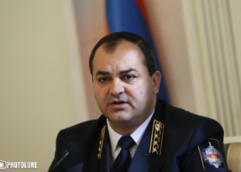 RA Prosecutor General Artur Davtyan holds a briefing