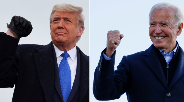 A combination picture shows U.S. President Donald Trump pumping his fist during a campaign event at Capital Region International Airport in Lansing, Michigan, U.S. October 27, 2020, and Democratic U.S. presidential nominee and former Vice President Joe Biden making a fist during a drive-in campaign stop in Des Moines, Iowa, U.S., October 30, 2020. REUTERS/Jonathan Ernst/Brian Snyder/File Photos