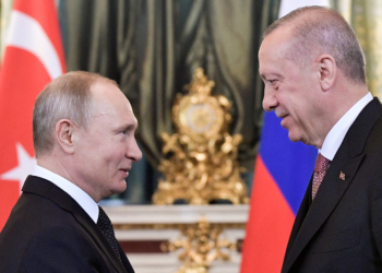 Russian President Vladimir Putin (L) greets his Turkish counterpart Tayyip Erdogan during a meeting at the Kremlin in Moscow, Russia April 8, 2019. Sputnik/Alexei Nikolsky/Kremlin via REUTERS  ATTENTION EDITORS - THIS IMAGE WAS PROVIDED BY A THIRD PARTY. - RC1FB743D560