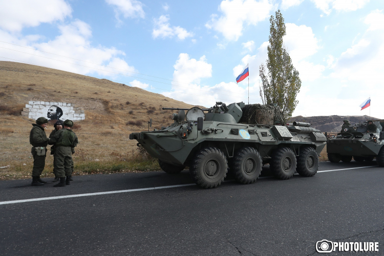 Russian peacekeepers are heading to the Artsakh Republic after Armenia and Azerbaijan agreed to a nine-point ceasefire agreement, Yerevan-Sevan highway, Armenia