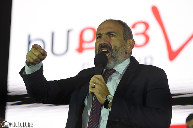 RA Prime Minister Nikol Pashinyan holds a speech during the pre-election campaign of 'My Step' party ahead of the mayoral elections in Yerevan, Armenia