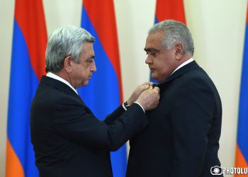 RA President Serzh Sargsyan handed awards on the occasion of the 25th anniversary of Armenia's independence at the RA Presidential Residence